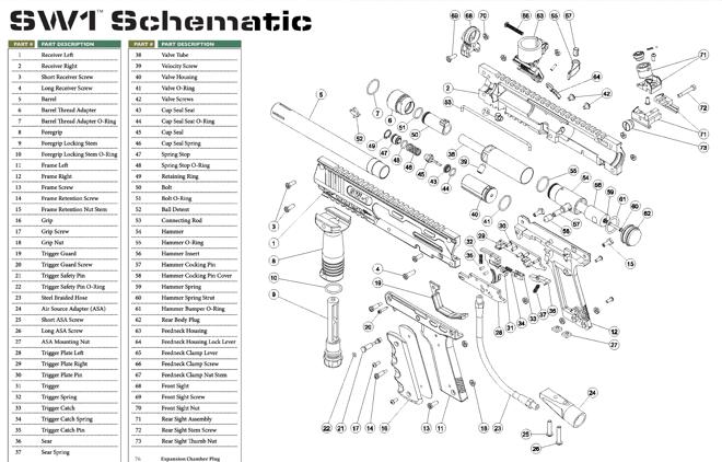 Valken V-TAC SW-1 Part #38-41+43-49 Valve Assembly